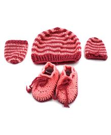 Magic Needles Striped Cap & Booties With Mittens - Peach & Red