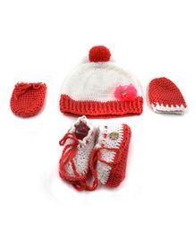 Magic Needles Flower Applique Cap & Booties With Mittens - White