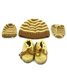 Magic Needles Strips Cap & Booties With Mittens - Brown & Cream