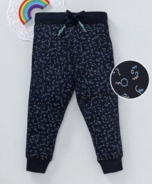 Bonkerz Printed Full Length Lounge Pants - Navy Blue