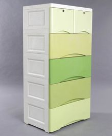 6 Compartment Storage Unit - Green & White