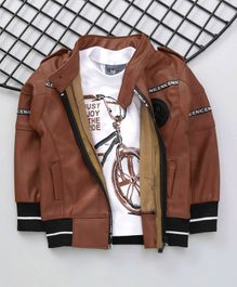 Dapper Dudes Cycle Print Tee With Full Sleeves Jacket - White & Brown