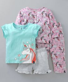 Babyoye Night Suit Unicorn Print Pack of 2 - Light Pink
