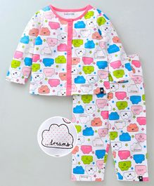 9a9cdee3fdf Babyoye Full Sleeves Night Suit Allover Cloud Print - Pink White