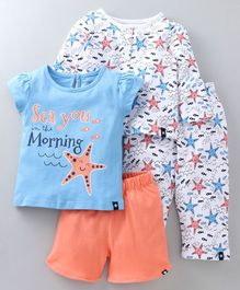 Babyoye Marine Printed Cotton Night Suits Combo Set of 2 - White Blue