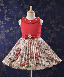 Bluebell Sleeveless Frock Flower Applique - Red