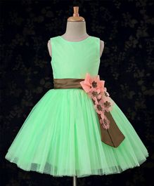 Bluebell Party Wear Sleeveless Frock Floral Appliques - Light Green