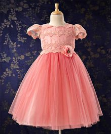 Bluebell Cap Sleeves Frock With Flower Corsage - Light Pink