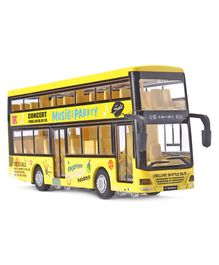 IndiaBuy Double Decker Bus Pull Back Metal Toy  - Yellow