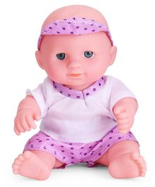IndiaBuy Darling Lovely Baby Doll Purple and White - Height 12.5 cm