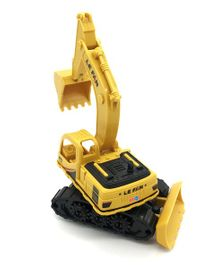 Emob Push & Go Friction Powered Construction Site Excavator Toy with Moveable Parts - Yellow