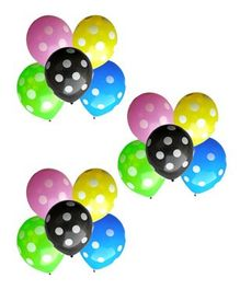 Toy Jumble Polka Dotted LED Balloons Pack of 15 - Multicolour
