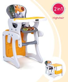 Babyhug Candy 2 in 1 High Chair With Cushioned Seat & 5 Point Safety Harness - Grey Orange