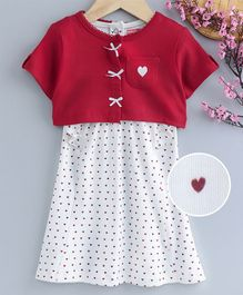 Babyhug Sleeveless Frock With Solid Shrug - Off White