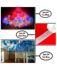 Party Propz LED Balloons With Glue Dots Pack of 15 - Multicolor