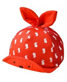 Ziory Cartoon Printed Bunny Ear Cap - Red
