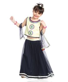 Little Pockets Store Sleeveless Design Work Choli & Lehenga Set With Dupatta - Navy Blue