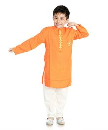 Little Pockets Store Full Sleeves Embroidered Kurta - Orange