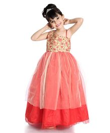 Little Pockets Store Sleeveless Flower Embroidered Gown - Orange