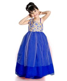 Little Pockets Store Sleeveless Flower Embroidered Gown - Blue