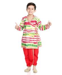 Little Pockets Store Full Sleeves V Neck Angrakha & Dhoti Set - Red