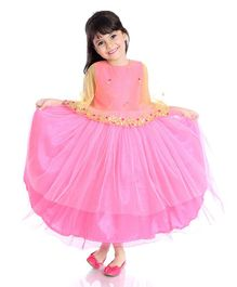 Little Pockets Store Gota Patti Design Attached Cape Gown - Pink