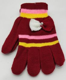 Kid-O-World Bow Applique Gloves - Maroon