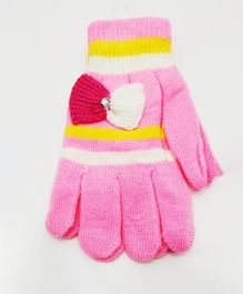 Kid-O-World Bow Applique Gloves - Pink