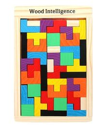 Vibgyor Vibes Wooden Tetris Puzzle Toy - 40 Pieces