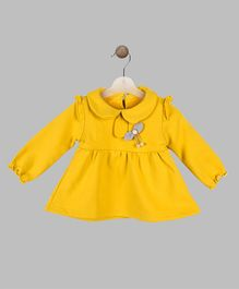 Whitehenz Clothing Flower Applique Full Sleeves Dress - Yellow