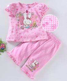 Teddy Puff Sleeves Night Suit Bunny Print - Pink