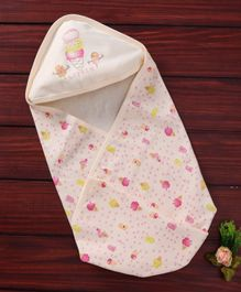 Simply Hooded Wrapper Ice Cream Print - Cream