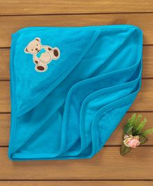 Simply Hooded Towel Bear Embroidery - Blue
