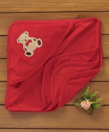Simply Hooded Towel Bear Embroidery - Red