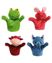 Skylofts Plush Animal Hand Puppets Multicolour Set of 4 - Height 20 cm Each