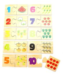 Kinder Creative Wooden Number Match Up With Box - 20 Pieces