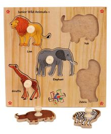 Kinder Creative Wooden Junior Wild Animals With Knobs Puzzle - Multicolor