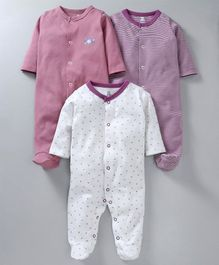 I Bears Full Sleeves Footed Rompers Pack of 3 - White, Pink & Purple