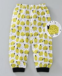 Mini Taurus Full Length Lounge Pant Sheep Print - Yellow & White