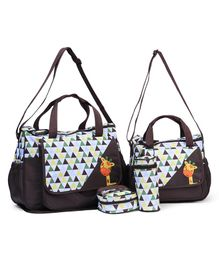 5 Pieces Giraffe Printed Diaper Bag - Coffee Brown