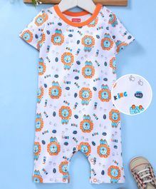 5106dc19621a Babyhug Half Sleeves Cotton Romper Allover Lion Print - Orange