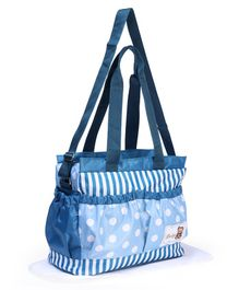 Mother Bag With Changing Mat Polka Dots And Stripes Design - Blue