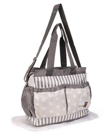 Mother Bag With Changing Mat Polka Dots And Stripes Design - Grey