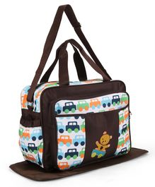 Diaper Bag With Changing Mat Car Print - Brown