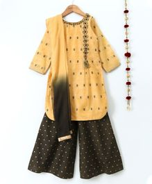 Dhyana Fashions Printed Full Sleeves Kurta Palazzo & Dupatta Set - Yellow & Dark Green