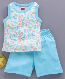 Babyhug 100% Cotton Sleeveless Night Wear Dino Print - Blue