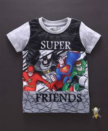 Eteenz Half Sleeves Tee Super Friends Print - Grey