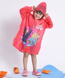 Babyhug Full Sleeves Hooded Raincoat Barbie Print - Pink