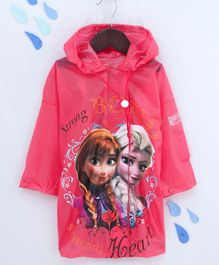 Babyhug Full Sleeves Hooded Raincoat Disney Frozen Print - Pink