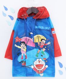 Babyhug Full Sleeves Hooded Raincoat Doraemon Print - Blue Yellow
